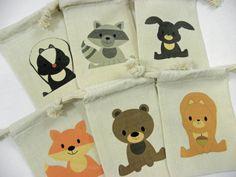 Muslin Custom Printed Bags Woodland Animals Favor Baby Shower Birthday Bags Qty 6