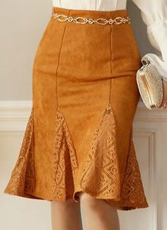 Suede Lace Godet Skirt, Styleonme