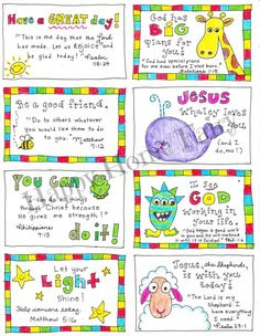 FREE Printable Inspirational Lunch Box Notes - Happy Home Fairy - As I searched for fun FREE Printable lunch box notes to share with you, I realized that I could not - Happy Home Fairy, Bible Verses For Kids, Little Lunch, Love Notes, Kids Cards, Free Printables, Kindergarten, School Lunches, Kid Lunches