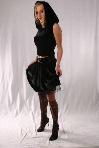 Gothic Velvet & Lace Mini Skirt~Black Velvet Mini Skirt with Lace-up Front detail~By Bares~92D-1378~