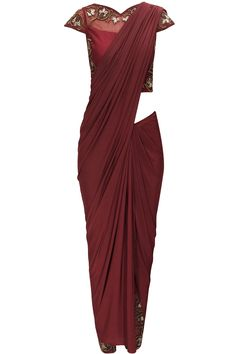 Burgundy sari with embroidered blouse and pants by Bhaavya Bhatnagar. Shop now: www.perniaspopups.... #bhaayabhatnagar #pants #blouse #clothing #ethnic #perniaspopupshop #shopnow #happyshopping