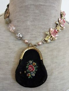 little black purse - vintage assemblage necklace with petit point purse, rose links and wooden rosary by the french circus