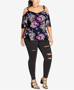 82b6869eec6 City Chic Trendy Plus Size Floral-Print Off-The-Shoulder Tunic Plus Sizes -  Tops - Macy s