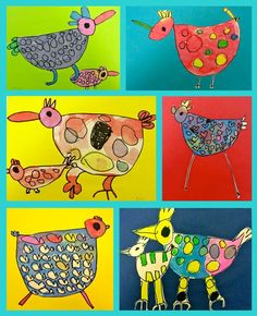 """Watercolor """"Shape"""" Birds for Kinder posted by: Deep Space Sparkle water color, oil pastel(or black sharpie-crayon)"""