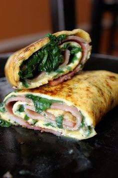 Spinach Ham Omelet Roll-up: 1-2 thin slices of ham;   2 eggs; handful of baby spinach chopped; Salt and Pepper; other toppings to taste: tomatoes, avocado, basil, onions, garlic