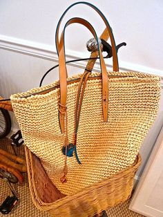 straw bag at AERIN store in Southampton