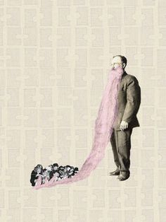"Saatchi Art Artist Jaume Serra Cantallops; Collage, ""Pink Beard. Limited Edition Print 6 of 20"" #art"
