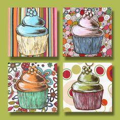 Strawberry Swirl Cupcake Painting by ldavis711 on Etsy, $25.00