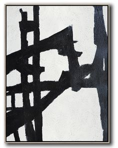 Hand-painted black and white Minimalist painting on canvas – CZ Art Design