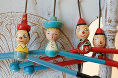 Vintage Children's Wood Hangers with Characters - 1930's - 1940's