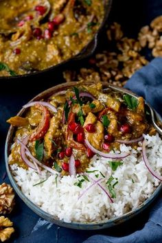 Persian Style Chicken Curry With Walnuts and Pomegranate - with added veggies! Gluten Free