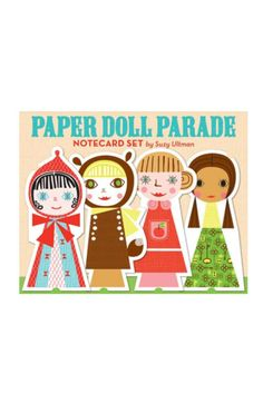 Paper Doll Parade Notecard Set These delightful paper doll notecards by artist Suzy Ultman are a cut above the rest! Perfect for invites thank-yous and simple hellos 16 giant die-cut notecards burst with all the color and personality of a handmade paper doll. Includes a collection of matching accessory stickers so that each doll can hit the post office in style! Size: 12-3/4 x 9-3/4 in; Cards: 5-3/4 x 8 in; 16 die-cut cards and envelopes (8 designs repeated twice) sticker sheet all ages…