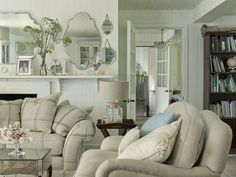I love this gorgeous New England style room. It reminds me of the beautiful Colonial waterfront houses at Matanzas Inlet in St Augustine where we used to visit our dad. I can smell the fresh air and hear the water just by looking at this photo #LauraAshleySS14