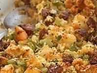 Corn Bread Stuffing with Shrimp and Andouille // More Chefs Holiday Recipes: www. - HAUTE SIDES - Cornbread dressing - Larissa B. Creole Recipes, Cajun Recipes, Seafood Recipes, Wine Recipes, Great Recipes, Cooking Recipes, Oyster Recipes, Haitian Recipes, Donut Recipes