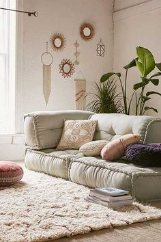 Cozy living space with Reema Floor Cushion by Urban Outfitters Living Room Furniture, Living Room Decor, Bedroom Decor, Yoga Room Decor, Teen Bedroom, Dining Room, Reema Floor Cushion, Cozy Living Spaces, Ikea Decor
