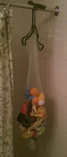 Medium image of homemade mamas  bath toy bag made from an unraveled bath pouf