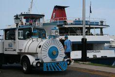 Tired feet?  Hop aboard! This little train chugs around the Kings Wharf area.