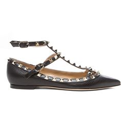 Valentino Rockstud Grained Leather Cage Flats (9.355 ARS) ❤ liked on Polyvore featuring shoes, flats, full grain leather shoes, valentino flats, valentino shoes, metallic shoes and metallic flat shoes