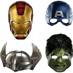 What Boys Like - - The Avengers Face Masks - Ready to have some hero action fun pretending to be Iron Man, Thor, Captain America and Hulk? Package includes 4 Avengers Face Masks of each design) for some real party fun. Avengers Birthday, Superhero Birthday Party, Boy Birthday, Birthday Ideas, Birthday Parties, Superhero Room, 21st Party, Disney Birthday, Third Birthday