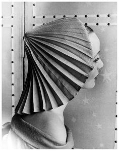 Model in pleated hat by Elsa Schiaparelli, photo by Regina Relang, Paris, 1951