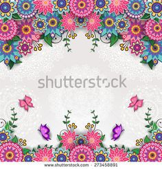 Geometric floral background with butterflies