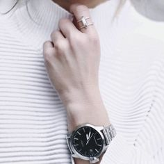 Building a Jewelry Wardrobe: A Woman's Guide to Seven Jewelry Must-Haves Minimal Classic, Minimal Chic, Happily Grey, Silver Accessories, Diamond Are A Girls Best Friend, Types Of Fashion Styles, Bracelets, Jewels, Minimalist Fashion