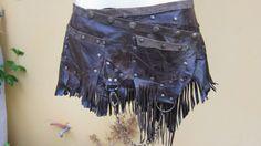 BURNING MAN..bohemian choc leather mini skirt/belt by wildskin