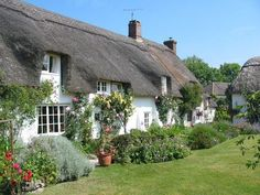 English cottage - cottage, roses, garden