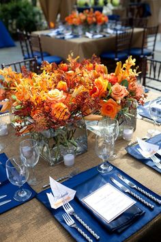 Orange and blue southern rehearsal dinner table settings hol Wedding Centerpieces, Wedding Table, Wedding Decorations, Table Decorations, Wedding Ideas, Fall Wedding, Wedding Dinner, Centerpiece Ideas, Budget Wedding