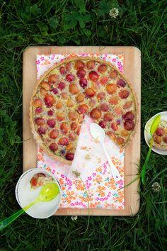 Rainier Cherry Tart Recipe with Lime and Lemon Thyme::recipe tartine gourmande