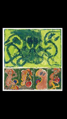"""Pierre Alechinsky - """" Astéroïde avalé """", 1969 - Huile sur papier marouflé sur toile, avec une prédelle -100 x 95 cm Abstract Expressionism, Abstract Art, Modern Art, Contemporary Art, Art Pierre, Tachisme, Printable Art, Home Art, Printing"""