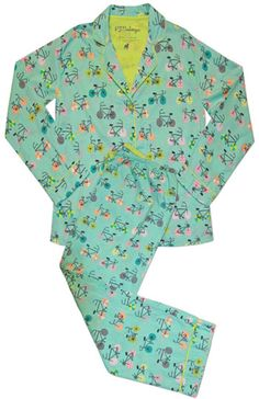 "PJ Salvage Women's Sweet Sets ""Bicycle"" Lightweight Cotton Pajama Set in Azul $63 - SHOP http://www.thepajamacompany.com/store/18740.html?category_id=10885"