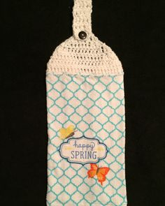 Crocheted Top Dish Towel--Happy Spring by HandMadeInMadison on Etsy