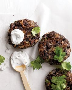 Black-Bean and Brown-Rice Cakes | Martha Stewart Living - This recipe makes enough to serve four as a main course. The patties can also be served as appetizers or vegetarian burgers for eight.