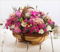 Created using antique pink Carnations, lilac Freesias & white Lisianthus this beautiful Nostalgia Trug bouquet costs only £24.99 at Valueflora.