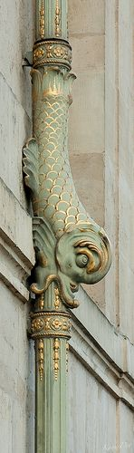 .Wow!  Now here is a truly fantastic gilded copper downspout