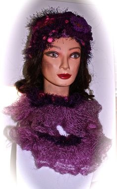 OOAK SOFT Purple Lavender Frilly crocheted Scarf. $50.00, via Etsy.
