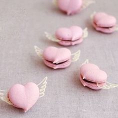 The cutest heart macarons with wings seen on @pinterest with no link if you know who did these please tag me : they are gorgeous