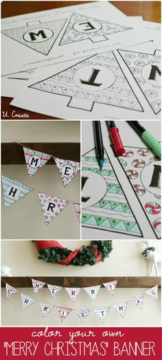 """Free Coloring Download  """"Merry Christmas Banner"""" by U Create"""