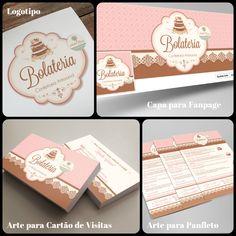 Logotipo Confeitaria, Capa Facebook Confeitaria, Cartão de Visitas Confeitaria, Panfleto para Confeitaria Flora Design, Bakery Branding, Logo Branding, Logo Doce, Cofee Shop, Sweet Logo, Cake Logo Design, Pink Cards, Name Cards