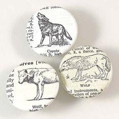Wolf Pinback Button Set by XOHandworks $4.50