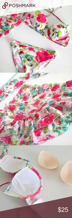 "3pc Bikini Chiffon Coverup Set Tropical Flower Japanese size S. Fits Xs. Bra band measure 27.5"" or 70 cm. Fits band size 32 or under. Doesn't stretch much.  Cup size adjustable with pad. Can fit A- small C  Pantie fits size XS.  Cover up is a moon shape scarf. Big enough to wrap body, or tie up as a skirt. Semi sheer chiffon. No tag but hygiene liner attached. Swim Bikinis"