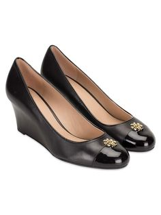 d43cc0e4ac20 Tory Burch Wedges Shoes Women s US 9.5 Black Leather with Logo  fashion   clothing