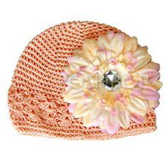 Baby Boutique Flower Hat - Newborn Baby Infant Girls Toddler (Peach) $6.50