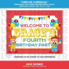 Circus Carnival Printable Birthday Party Welcome Sign - Letter Size Page - Print Your Own. $8.00, via Etsy.