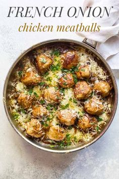 frenchonion comfortfood meatballs chicken recipes cooking french dinner onion French Onion Chicken Meatballs French Onion Chicken MeatballsYou can find French dinner recipes and more on our website Chicken Meatball Recipes, Chicken Meatballs, French Onion Chicken, Cooking Recipes, Healthy Recipes, Cooking Food, Healthy Food, French Dishes, Meals For Two