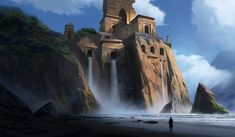 Ruined Temples by Ankush Sharma Landscape Concept, Fantasy Landscape, Fantasy Concept Art, Fantasy Art, Cities, Ruined City, Temple Ruins, Nordic Tattoo, Fantasy Castle