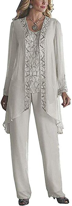 Shop the latest collection of HIDRESS Women's Elegant Mother The Bride Pant Suits Wedding 3 Pieces Beaded Outfits from the most popular stores - all in one place. Similar products are available. Mother Of The Bride Dresses Long, Mother Of Bride Outfits, Mother Of The Bride Trouser Suits, Mother Of The Bride Plus Size, Wedding Pantsuit, Wedding Suits, Wedding Dresses, Boho Wedding, Wedding Ceremony