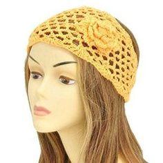 Yellow Floral Knit Fashion Headwrap