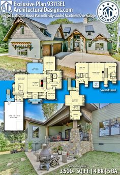 Architectural Designs Exclusive Home Plan gives you 4 bedrooms, 5 baths and sq. Lake House Plans, Craftsman House Plans, New House Plans, Dream House Plans, Cabin Plans, House Floor Plans, My Dream Home, Craftsman Exterior, House Blueprints